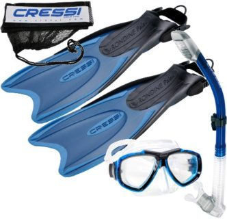 Cressi Palau Long Fins, Focus Mask, Dry Snorkel, Snorkeling Gear Package blue