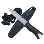 Promate Alligator Sharp Tip Titanium Diving Knife (Black, 5 3/8-Inch)